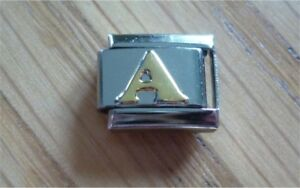 Italian Charms Gold Letters Letter A  Fits Classic Size Italian Charm Bracelet