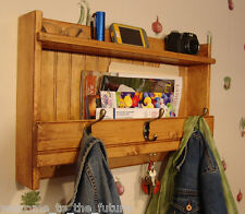 """24"""" Handcrafted Rustic wall mount Mail Key Organizer, Shelf, Coat Rack, all Pine"""
