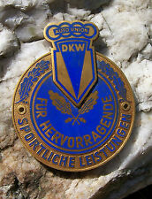 AUTO UNION DKW - German Motorsport Award Car Enamel Badge 1950´s AUDI