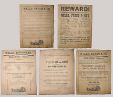 Set of 5 Old West Wells Fargo Posters, Robbery, Stage Coach Rules, Ad, Wanted