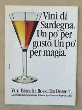 E862-Advertising Pubblicità-1986- VINI DI SARDEGNA BIANCHI , ROSSI DA DESSERT