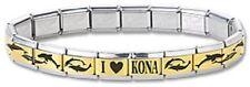 I Heart Kona Dolphin Italian Charm Bracelet 9 mm Stainless Steel Gold Links New