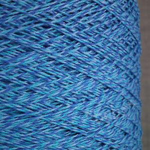 SOFT 3 PLY COTTON YARN BLUE MARL 500g CONE 10 BALL CROCHET HAND MACHINE KNITTING
