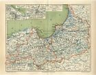 1887 EAST & WEST PRUSSIA GERMANY DANZIG KONIGSBERG now POLAND RUSSIA Antique Map