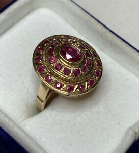 Estate! 1CTW Ruby Art Deco Dome Cocktail Ring Solid 14k Rose Gold SZ7 6.88 GRAMS