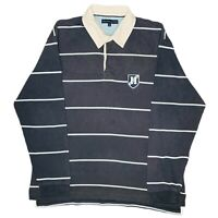Tommy Hilfiger Rugby Long Sleeve Striped Mens Polo Shirt Size XL Navy Blue