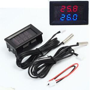 Car Internal External Temp Measures Gauge Red + Blue Dual Digital Display Meter