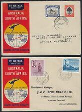 AUSTRALIA SOUTH AFRICA MAURITIUS 1952 FIVE AIR MAIL QANTAS EMPIRE AIRWAYS COVERS