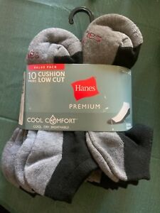 Hanes Premium cushion low cut Socks Cool Comfort Breathable 10 Count Wicking