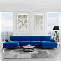 Modern Large Velvet Sectional Sofa Couch Extra Chaise U Shaped, Navy Royal Blue