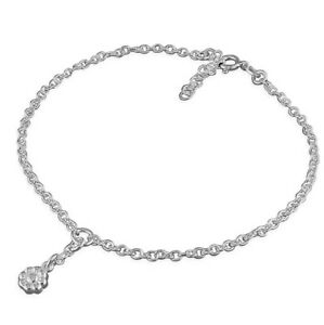 925 Sterling Silver Flower Charm Anklet With Gift Pouch