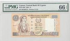 2004 Cyprus, Central Bank of Cyprus, 1 Pound, PMG 66 EPQ GEM UNC, P#: 60d