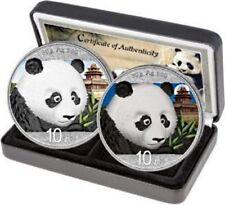 2018 PANDA DAY/NIGHT SET COLORIZED SILVER COIN  2 x 30 g 10 Yuan China