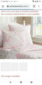 POTTERY BARN KIDS PAIGE COMFORTER QUILT FULL QUEEN PINK WHITE GOLD PERFECT!