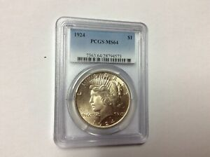 U.S. 1924 PEACE SILVER one $1 DOLLAR NGC MS 64