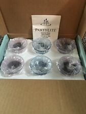 New! Set of 6 PartyLite Glass Votive Candle Holders - Pastels Violet Blue Decor