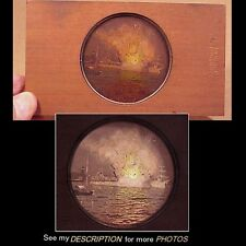 1900s Magic Lantern Wooden Framed Glass Slide Explosion of USS Maine at Havana