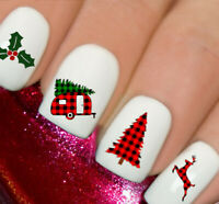 Christmas Snow Tartan Nail Nails Art 3D Decal Wraps Stickers Decals Reindeer