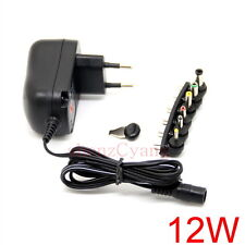 12W EU plug AC/DC Universal power adapter 3V/4.5V/5V/6V/7.5V/9V/12V 1A supply