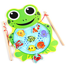 Baby Kids Magnetic Fishing Game Board Wooden Jigsaw Puzzle Toys (frog)