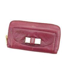 Chloe Wallet Purse Long Wallet Purple Gold Woman Authentic Used Y6355