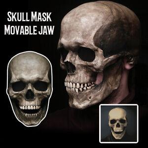 Movable Jaw Full Head Skull Mask Halloween Decor Horror Helmet Scary Party Kits!