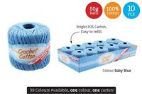10 x Super Soft Crochet Cotton Ball 50g Wool Yarn Baby blue NEW (WIN-083)