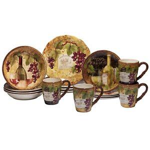 Certified International Gilded Wine & Grape Dinnerware ~~ 16-Piece Set ~~