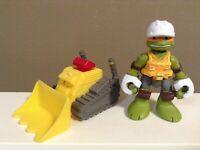"HALF SHELL HEROES FIGURE Construction Bulldozer TMNT 2.75"""