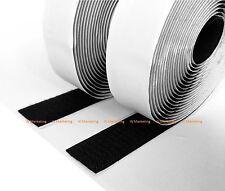 """5 Feet 1"""" Black Self Adhesive Hook & Loop Tape Fastener BAV25"""