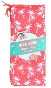 Dirty Works Drawstring Wash Bag Pink Palm Trees - Gym Travel - 24cm x 20cm