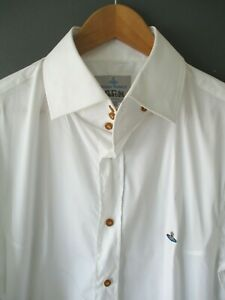 VIVIENNE WESTWOOD MAN ORB SHIRT (VI-XXL) WHITE STRETCH FITTED lightly used