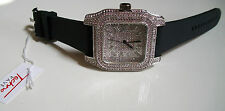 ICED OUT MEN'S SILVER FINISH TECHNO PAVE LAB DIAMOND SIMULATE SQUARE WATCH