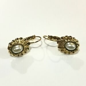 "1928 Gold Tone Faux Pearl Scalloped Edge Oval Leverback Earrings 5/8"" Long"