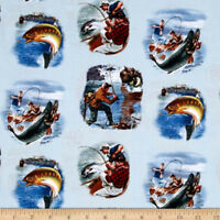 Sports Afield Fish   Cotton Quilt Fabric  Elizabeth Studios Blue  Bfab