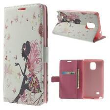 Protección bolso funda cubierta para Samsung Galaxy Note 4 n910 pedrería Lady hada rosa blanco
