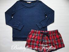 New NIP Victoria's Secret 2pc Pajama The Tee & Flannel Short PJ Set Navy Plaid M
