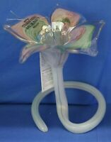 Murano Italian Swirl Art Glass Standing Flower Bud Vase Pink & Green COA