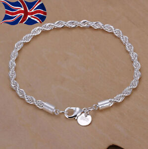 925 Sterling Silver Twisted Rope Bracelet 3mm Chain Link Fancy UK Seller