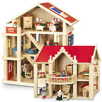 Möbliertes Puppenhaus mit Möbeln Holzpuppenhaus NEU