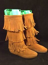 New Women's Minnetonka Brown 3 Layer Fringe Suede Leather Boots Size 5