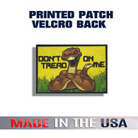 Don't Tread On Me Printed Patch | Cobra Snake Yellow Background | Hook Backing