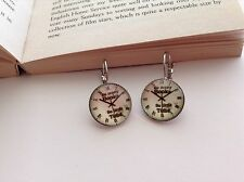 BOOK PRINTED DESIGN GLASS CABOCHON EARRING HOOKS SILVER PLATED 18mm SETTING