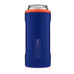 Brumate Hopsulator 12 oz Slim Can Cooler Tumbler Drink Holder BLUE & ORANGE