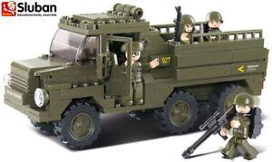 Sluban B0301 Military Army Soldier Troop Carrier Gun Truck Blocks Bricks Set