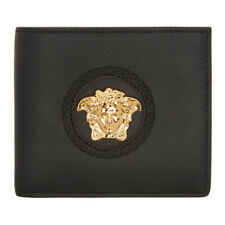 VERSACE Wallet Authentic Black Palazzo Bifold Wallet Gold Tone Medusa Logo NEW