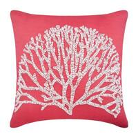 Coral Pink 18x18 inch Luxury Pillow Linen, Sea Weed Tree Beaded - White Forest