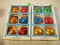 12 Vintage Glass Ball Christmas Ornaments assorted solid colors 2 boxes