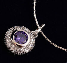 18ct 18k White Gold GF One Stone Purple Amethyst Cluster Pendant Necklace