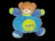 Doudou boule Patapouf Ours marron bleu vert Kaloo poche tétine papier froissé